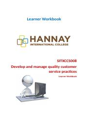 SITXCCS008 Develop and manage quality customer service practices (1).docx