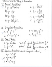 Review Sheet of Taking Derivatives