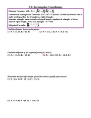 Study Guide on Rectangular Coordinates