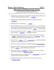 4 4 mountain building study guide 1 name nya cintron 2017 mountain rh coursehero com Anthem Study Guide Answers chapter 20 mountain building study guide for content mastery answers