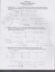 Acid Base Equilibra ll Worksheet CHM 104