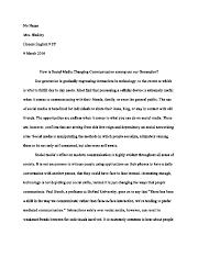 Social Media Effects Opinion Essay
