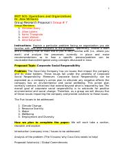 Group 7 MGT 501 Research Proposal - Corporate Social Responsiblity