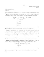 Surface Integrals Quiz