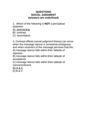 Social judgmt questions q and a