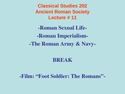 Classical Studies 202 Lecture 11a