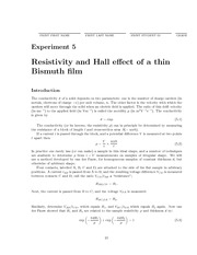 Resistivity and Hall effect of a thin Bismuth film Lab