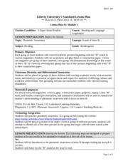 Liberty Lesson PlanExample EDUC Liberty Universitys Standard - University lesson plan template