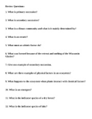 Environmental Succession Review Questions