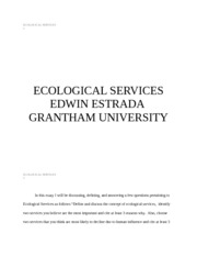 ECOLOGICAL SERVICES