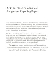 ACC 541 Week 5 Individual Assignment Reporting Paper