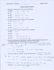 Redox Worksheet - Answer Key
