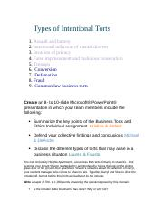 Types of Intentional Torts Team B.docx