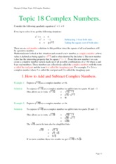 Topic 18 Complex Numbers