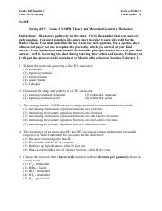 Exam 2 Review Sheet Answer Key Grade10 Chemistry Class Work
