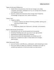 Chapter 11-Managing Individual Differences and Behavior Class Notes