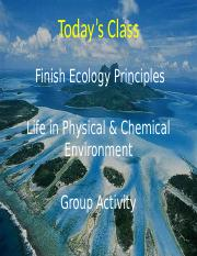 1-27-16 Ch 3 Ecology and Ch 4 - Physical Chemical Environ all