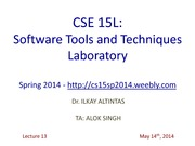 CSE15LSpring2014Lecture1314thMay2014