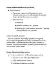 Range of Qualitative Approaches Note1