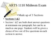 ARTS 1110 Midterm Exam Review ICM