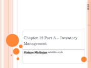 Chapter 12 Inventory Management -Part A