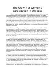 The Growth of Women's participation in athletics