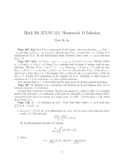 Math 301 Problem Set 11 Solutions