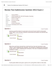 Review Test Submission: Summer 2012 Exam 2