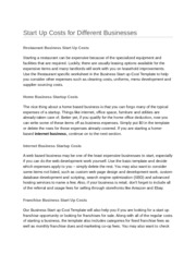 Start Up Costs for Different Businesses