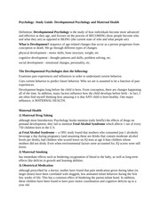Psychology- Study Guide- Developmental Psychology and Maternal Health