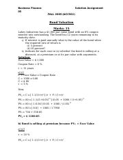 Business Finance - ACC501 Spring 2005 Assignment 03 Solution