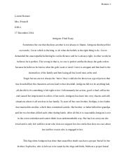 Antigone Final Essay - E2H1