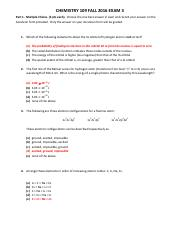 CHEM109 Exam 3 FA 2016 GOLD KEY