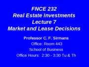 Lecture+7+FNCE+232+Market+and+Lease+Decisions