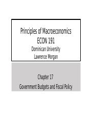 ECON 191 Chapter 17 Government Budgets & Fiscal Policy