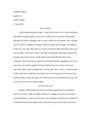 Paper #3 Monsters and Dialogue