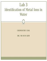 Metal Ions in Water - LECTURE-2