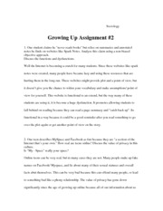 Growing Up Assignment #2
