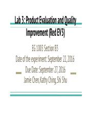 Lab # 3: Product Evaluation and Quality Improvement.pptx