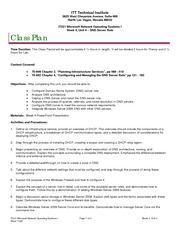 IT221 Class Plan, Week 4, Unit 4