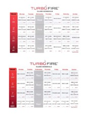 TurboFire 20 Week Class Schedule