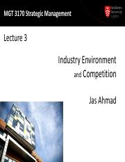 MGT 3170 Lecture03-External Env-Industry  Competition