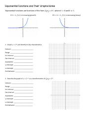 Exponential Functions and their Graphs Notes