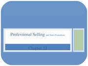Chapter 13 Pro Selling and Sales Promotions