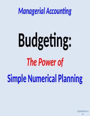 Class 16 --Budgeting The Power of Simple Numerical Planning.ppt