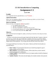Introduction to Computing - CS101 Special 2006 Assignment 02.pdf