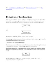 4 Derivatives of Trig Functions