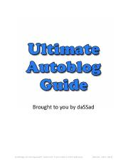 Ultimate Autoblog Guide