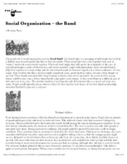 "Social Organization â€"" the Band â€"" North American Indians"