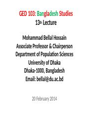 Bangladesh Studies_BUP_13th Lecture_27 February 2014